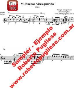 Mi Buenos Aires querido - ejemplo de la partitura del tango en guitarra, en un arreglo del maestro argentino Roberto Pugliese
