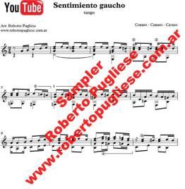 Ejemplo de la partitura del tango Sentimiento gaucho, arreglo para guitarra del maestro argentino Roberto Pugliese.