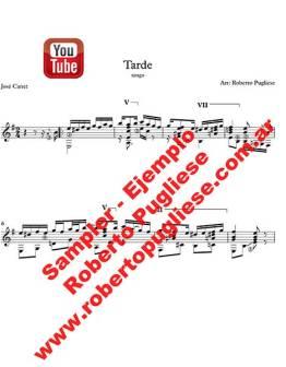 EJEMPLO de Tarde tango partitura de guitarra arreglo de Roberto Pugliese. con video y tablatura.