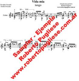 EJEMPLO Vida mia Tango partitura guitarra Roberto Pugliese. Con video