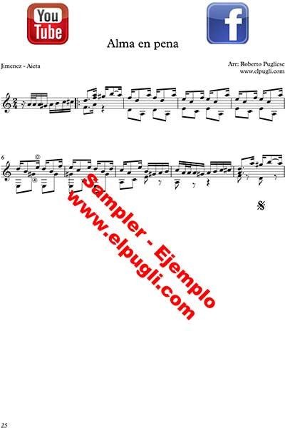 Ejemplo de Alma en pena tango partitura de guitarra
