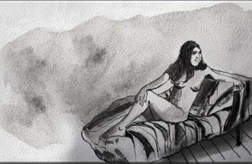Malena - dibujo en tinta china y grafito por Roberto Pugliese