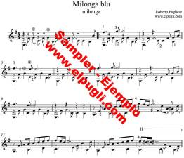 Milonga blu milonga partitura de guitarra ejemplo
