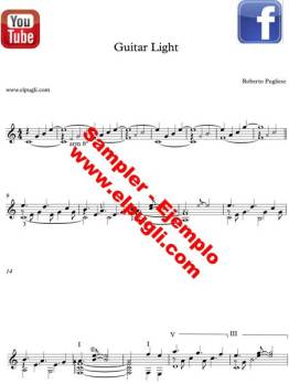 Healing and relaxing music score. Guitar music by Roberto Pugliese.