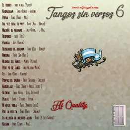 Contra Tapa del cd Tangos sin versos 6 de Roberto Pugliese. 20 tangos seleccionado en guitarra solista.