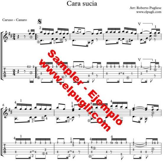 Cara sucia. Ejemplo de la partitura en tablatura para guitarra por Roberto Pugliese