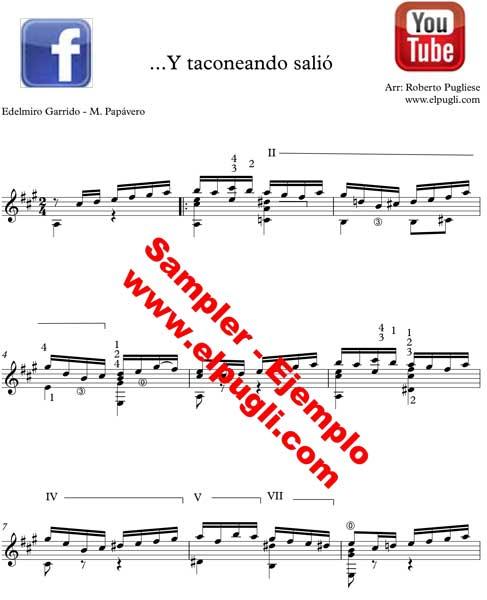 Y taconeando salió tango. Ejemplo de la partitura para guitarra con tablatura y video por Roberto Pugliese.