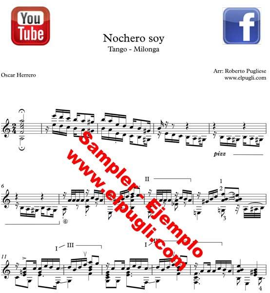 Nochero Soy - Tango guitarra. Ejemplo de la partitura original para guitarra con video y tablatura por Roberto Pugliese