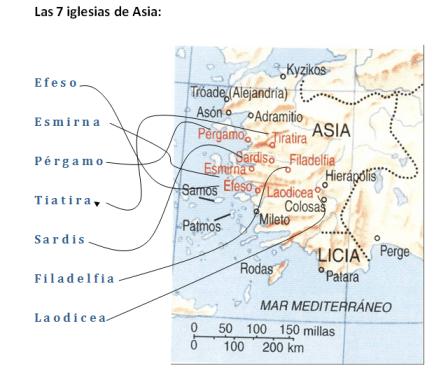 cartas a las 7 iglesias de asia, apocalipsis, mapa, diagrama, 7 iglesias apo