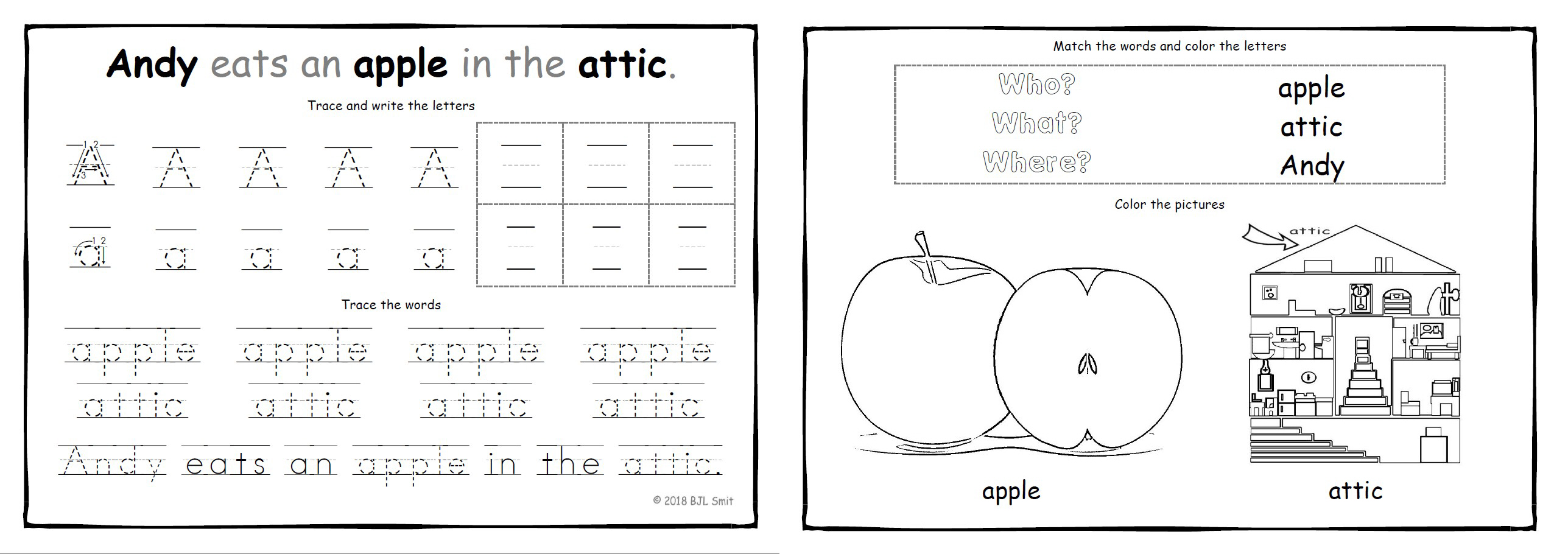 Andy Eats An Apple Abc Writing Flashcards Word Cards Elrore