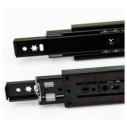 Full Extension Drawer Slide 250mm to 700mm. Side Mount Black. 45Kg load rated 2