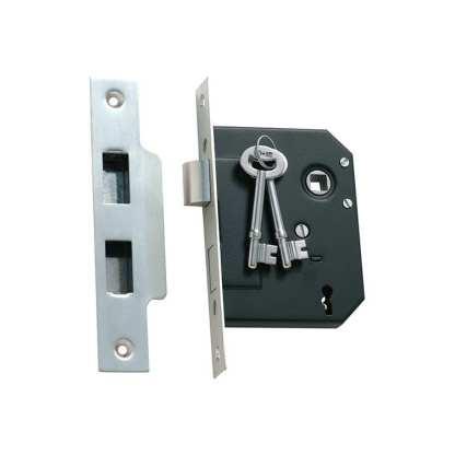1133 - 3 Lever Mortice Lock - Satin Chrome - 57mm Backset 1