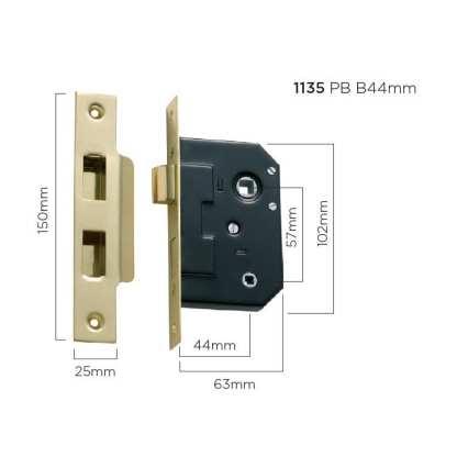 1135 - Bathroom Lock - Polished Brass - 44mm Backset 1