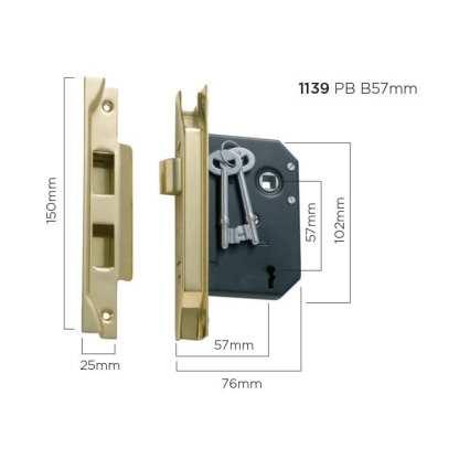 1139 - Rebated Lock - Polished Brass - 57mm Backset 1