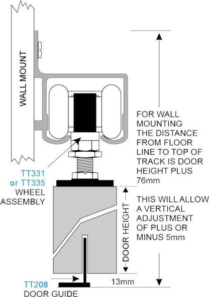 Triumph Track Wall Mount 3400mm Mill Finish -Cowdroy TT32331 2