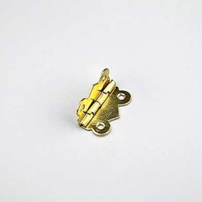 Fancy Steel Hinge. 32x28mm. Brass Plated. 90 Deg Stop 1