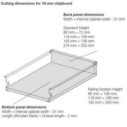 Innobox Steel Drawer 150mm Wall Height. Lengths from 350mm to 550mm 3