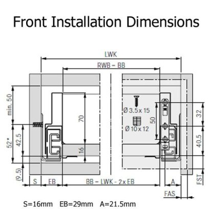 Nova Pro Scala Drawer Kit 550mm X 90mm(H) - Ice - 40kg Rated 5