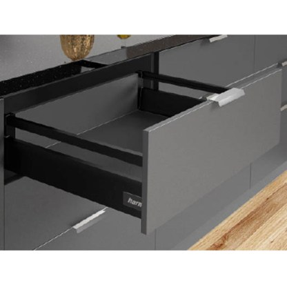 Black Harn Ritma Drawer Kit with 135mm Wall Height. Lengths from 270mm to 550mm. Soft Closing Mechanism 1