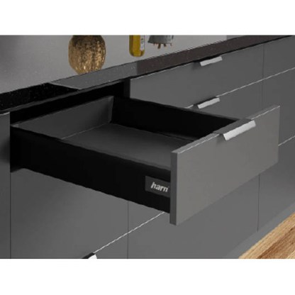 Harn Ritma Drawer Kit. Black. 83mmH. Lengths from 270mm to 550mm. Soft Closing Mechanism 1