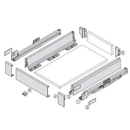Harn Ritma Inner Drawer Kit. White. Drawer Lengths from 270mm to 550mm. Wall Height 83mm. Soft Closing Mechanism 3
