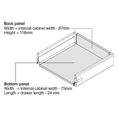 Harn Ritma Inner Drawer Kit. White. Drawer Lengths from 270mm to 550mm. Wall Hieght 115mm. Soft Closing Mechanism 3
