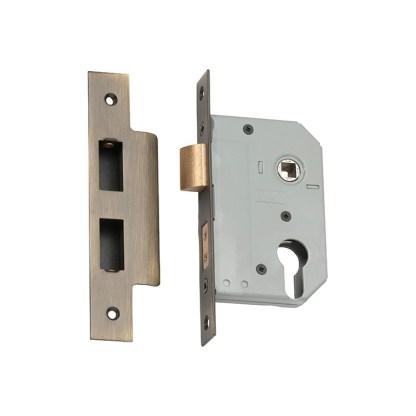 Mortice Lock Euro Antique Brass CTC47.5mm Backset 46mm 1