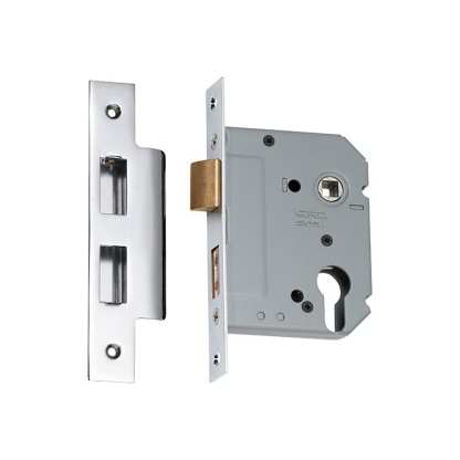 Mortice Lock Euro Chrome Plated CTC47.5mm Backset 57mm 1