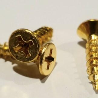 Longthread Wood Screw. Brass Plated