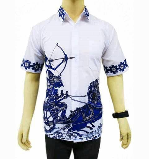 Baju  kemeja batik panah (Biru)  Murah Banget