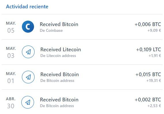 últimos pagos recibidos en Coinbase