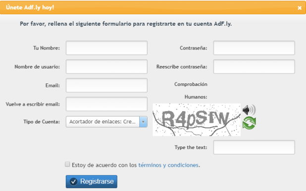 rellenar el formulario de registro en Adfly