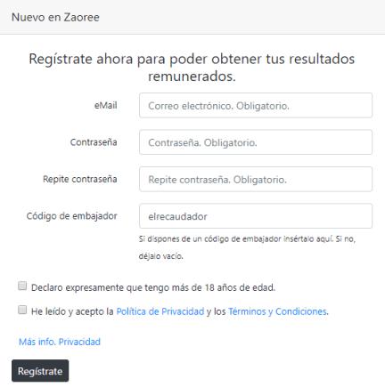 Formulario de registro en Zaoree