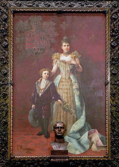 Reina María Cristina y el Infante D. Alfonso