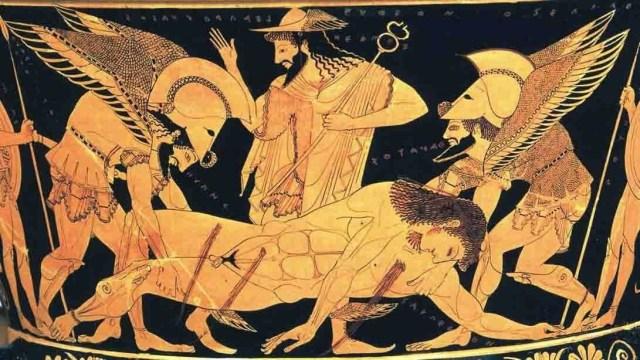 Hermes, en medio, con los hermanos gemelos Thanatos e Hypnos llevando a Sarpedón