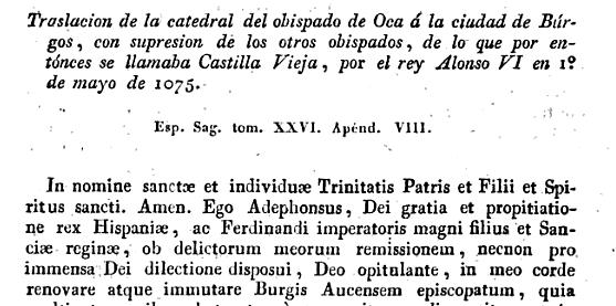 """Extracto de """"España Sagrada"""" Tomo XXVI"""