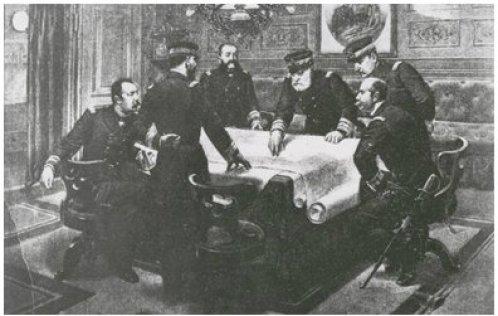El Almirante Cervera junto a su Estado Mayor.