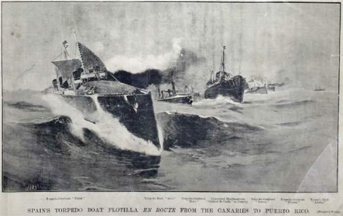 """Escuadra de destructores y torpederos. En primera instancia el """"Furor""""."""