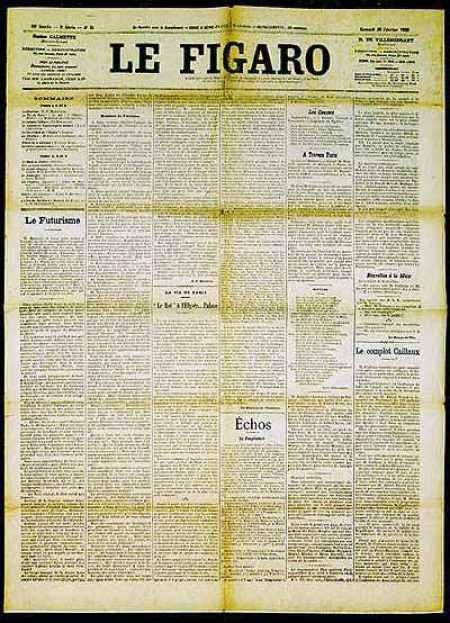 Primer manifiesto futurista en Le Figaro, 1919.