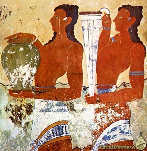 Minoicos oferentes representados en un mural del Palacio de Cnosos