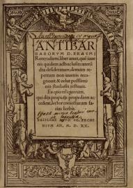 Erasmo, Antibarbarorum liber unus (Basilea: Frobenius, 1520).