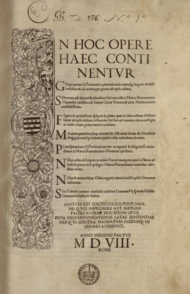 Ejemplar de la edición de 1508 de la Geographia de Tolomeo (Roma: B. Venetus de Vitalibus), que incluía como novedad el mapamundi de Johann Ruysch.