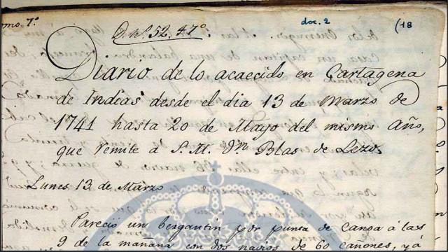 Fragmento del diario de Blas de Lezo [Museo Naval de Madrid]