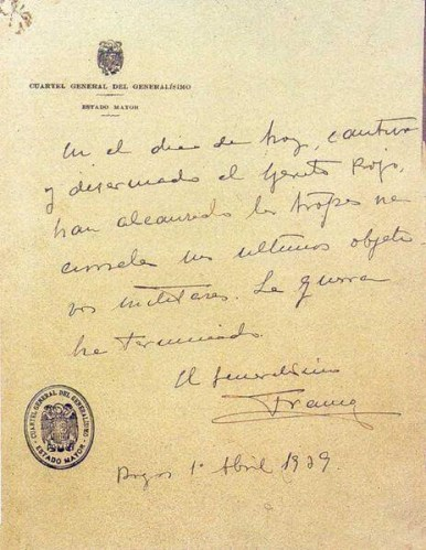 """Último parte de la Guerra Civil Española, (Francisco Franco, 1 de abril de 1939) En que denomina a los """"gubernamentales"""": """"Rojos"""""""
