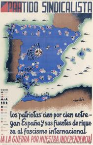 """¡A la guerra por nuestra independencia! : los """"patriotas"""" cien por cien entregan España y sus fuentes de riqueza al fascismo internacional Monleón Autor Monleón Partido Sindicalista (España)- Fecha 1937"""