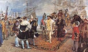 Desembarco de Francisco I en el puerto de Valencia. Óleo realizado en 1876 por el pintor Ignacio Pinazo.