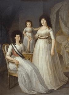 Retrato familiar de la Duquesa de Osuna como dama de la Real Orden de Damas Nobles de la Reina María Luisa, en el que se aprecian las dos modalidades de llevar la banda