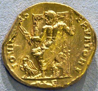 Moneda con Zeus de Olimpia