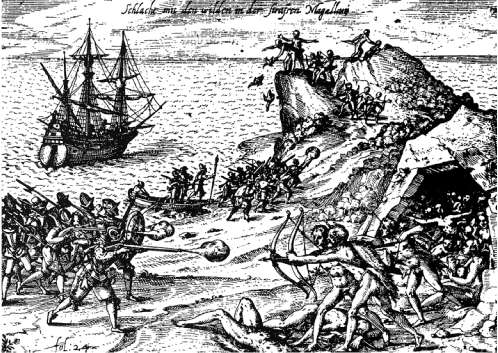 Holandeses atacando indígenas en cabo Orange (Teo de Bry)