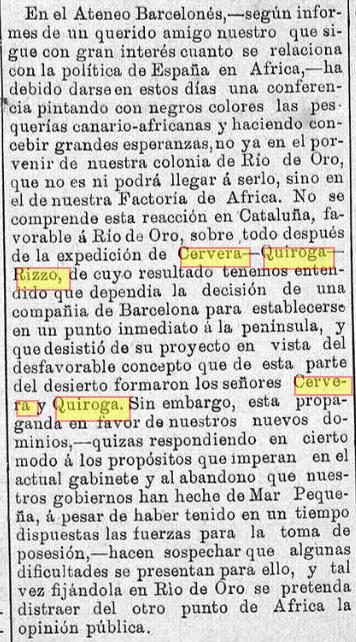 Recorte de prensa de 1887